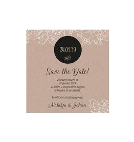Belarto Bohemian Wedding Save the date bij trouwkaart met krafthoesje en touw met label