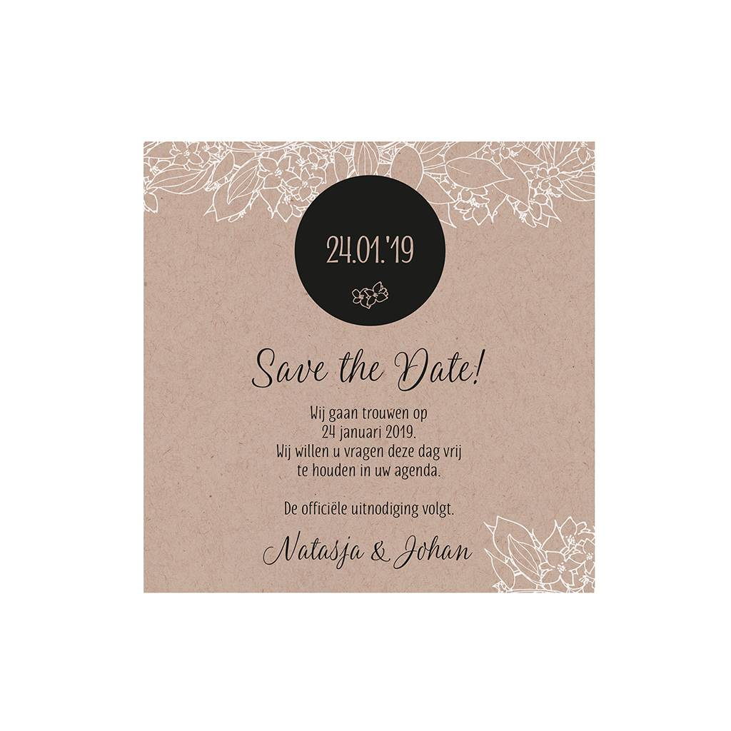 Belarto Bohemian Wedding Save the date bij trouwkaart met krafthoesje en touw met label (727524)