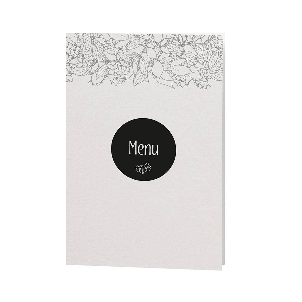 Belarto Bohemian Wedding Menukaart bij trouwkaart in parelmoer papier met wikkel met bloemenmotief (727625)