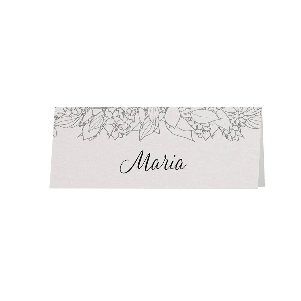 Belarto Bohemian Wedding Tafelkaartje bij trouwkaart in parelmoer papier met wikkel met bloemenmotief (727725)