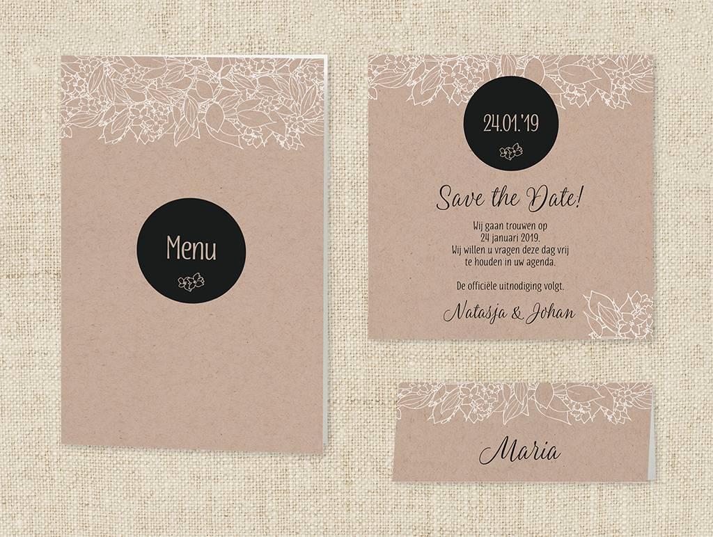 Belarto Bohemian Wedding Trouwkaart met krafthoesje en touw met label (727024)