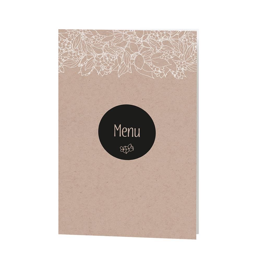 Belarto Bohemian Wedding Menukaart bij trouwkaart met krafthoesje en touw met label (727624)