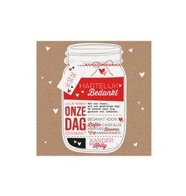 Belarto Bohemian Wedding Bedankkaart bij trouwkaart als Mason Jar met label