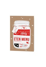 Belarto Bohemian Wedding Menukaart bij trouwkaart met een hippe Mason Jar voorzien van label  (727602)