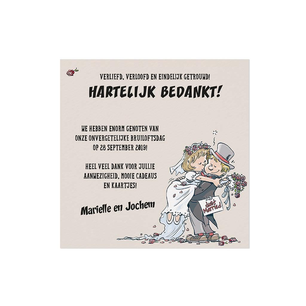 Belarto Bohemian Wedding Bedankkaart bij trouwkaart op structuurpapier met vrolijk bruidspaar (727520)