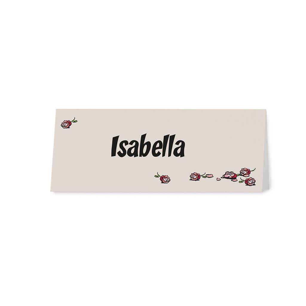 Belarto Bohemian Wedding Tafelkaartje bij trouwkaart op structuurpapier met vrolijk bruidspaar (727720)