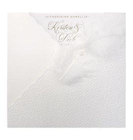 Belarto Bohemian Wedding Trouwkaart met voelbaar patroon en veertje