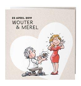 Belarto Bohemian Wedding Trouwkaart drieluik met vrolijke illustraties