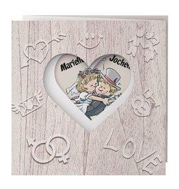 Belarto Bohemian Wedding Trouwkaart drieluik op structuurpapier met bruidspaar