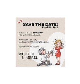Belarto Bohemian Wedding Save the date bij trouwkaart met vrolijke illustraties op structuurpapier