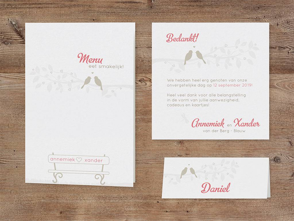 Belarto Bohemian Wedding Trouwkaart met gouden vogeltjes en bankje en lintje (727012)
