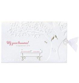 Belarto Bohemian Wedding Trouwkaart met gouden vogeltjes en bankje en lintje