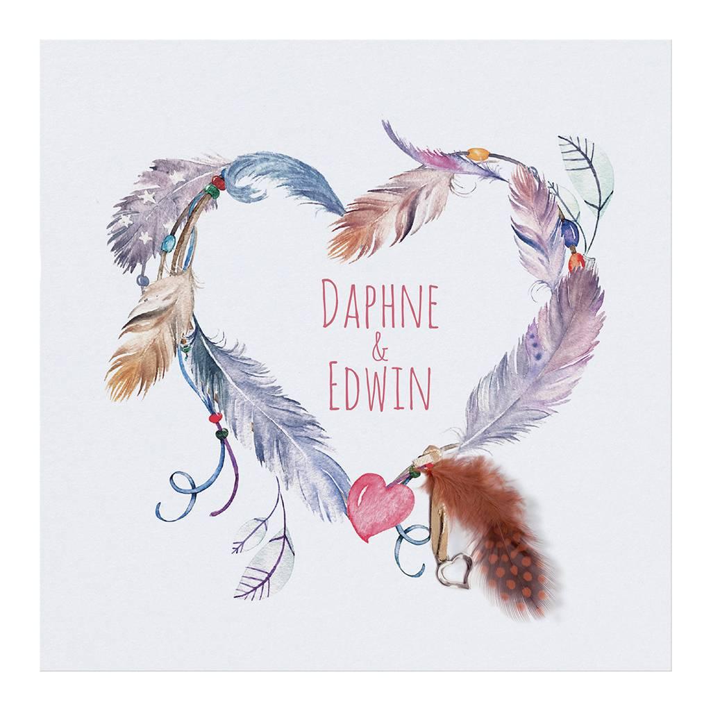 Belarto Bohemian Wedding Trouwkaart in 'Bohemian Style' met echt veertje en bedeltje (727004)