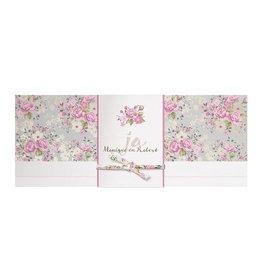 Belarto Bohemian Wedding Trouwkaart met bloemen en wikkel met lintje