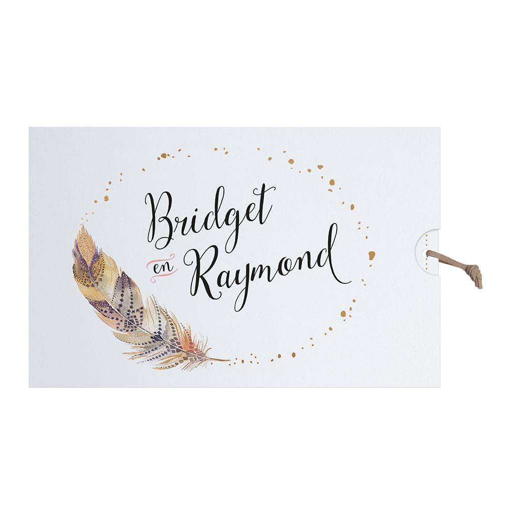 Belarto Bohemian Wedding Trouwkaart in 'Bohemian Style' met veermotief en leder koordje (727005)