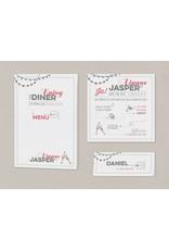 Belarto Bohemian Wedding Trouwkaart met parelgrijs jasje en lintje met label (727001)