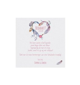 Belarto Bohemian Wedding Bedankkaart bij trouwkaart in 'Bohemian Style' met echt veertje en bedeltje
