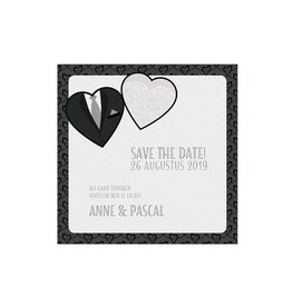 Belarto Bohemian Wedding Save the date bij trouwkaart, thema jurk & pak, met bling bling lintje
