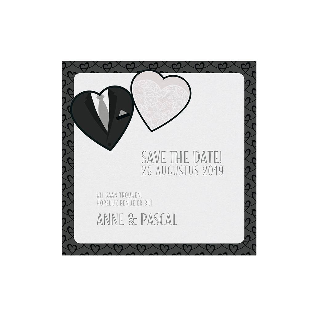 Belarto Bohemian Wedding Save the date bij trouwkaart, thema jurk & pak, met bling bling lintje (727506)