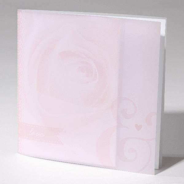 Familycards-Deel je Geluk Trouwkaart Roze roos met calco omslag (621694)