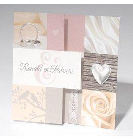 Familycards-Deel je Geluk Trouwkaart-zigzag met ringen, roos en vogels