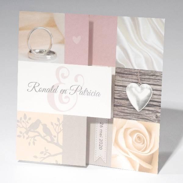 Familycards-Deel je Geluk Trouwkaart-zigzag met ringen, roos en vogels (621697)