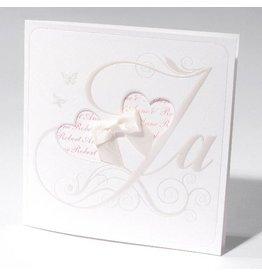 Familycards-Deel je Geluk Trouwkaart met strik en jullie namen in een hart