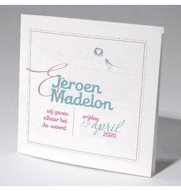 Familycards-Deel je Geluk Trouwkaart vogel met hartje
