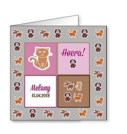 Mare Geboortekaartje hondjes en katjes op zwaar papier