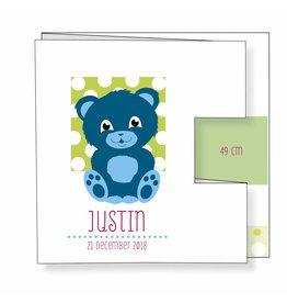 Mare Geboortekaartje met helderblauw beertje en confetti