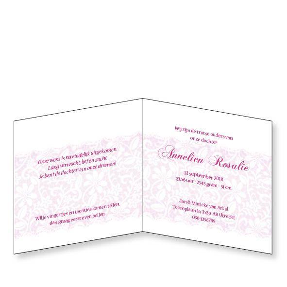 Mare Geboortekaartje met romantische opdruk in roze (14-071-A)