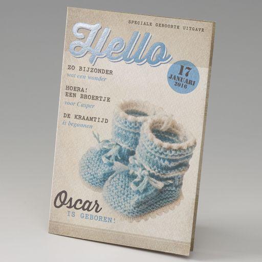 Belarto Stay Geboortekaart magazine met blauwe sokjes(714011)