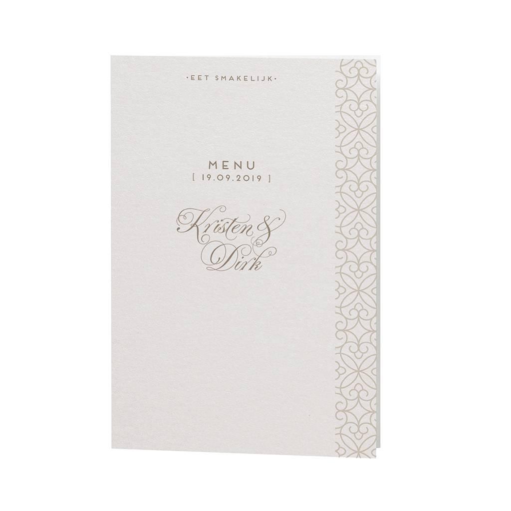 Belarto Bohemian Wedding Menukaart bij trouwkaart met voelbaar patroon en wit fluffy veertje (727628)
