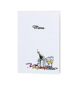 Belarto Jubileum Menukaart have fun met champagne illustratie