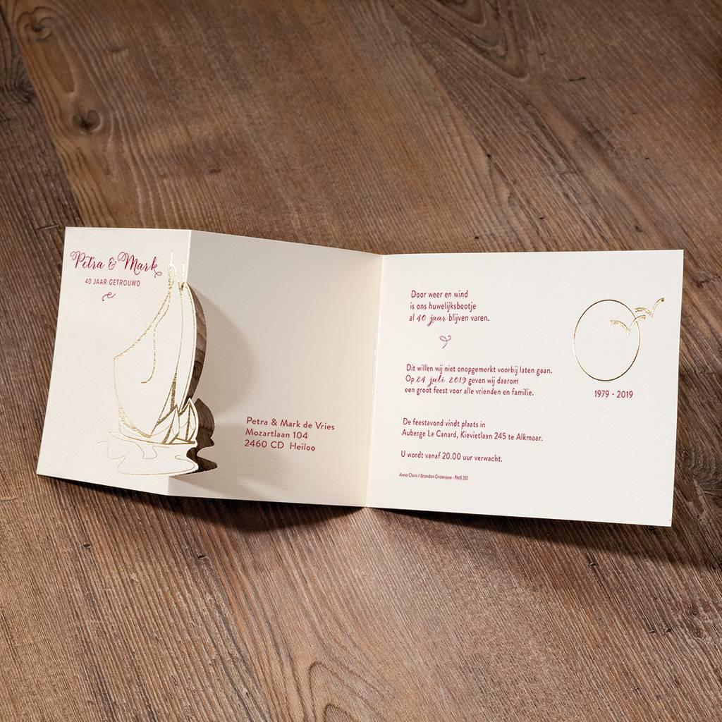 Belarto Jubileum Uitnodiging classic met zeilbootjes, maan en vogels (786009)
