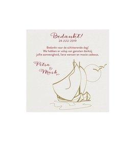 Belarto Jubileum Save The Date of bedankkaart classic met zeilbootjes, maan en vogels