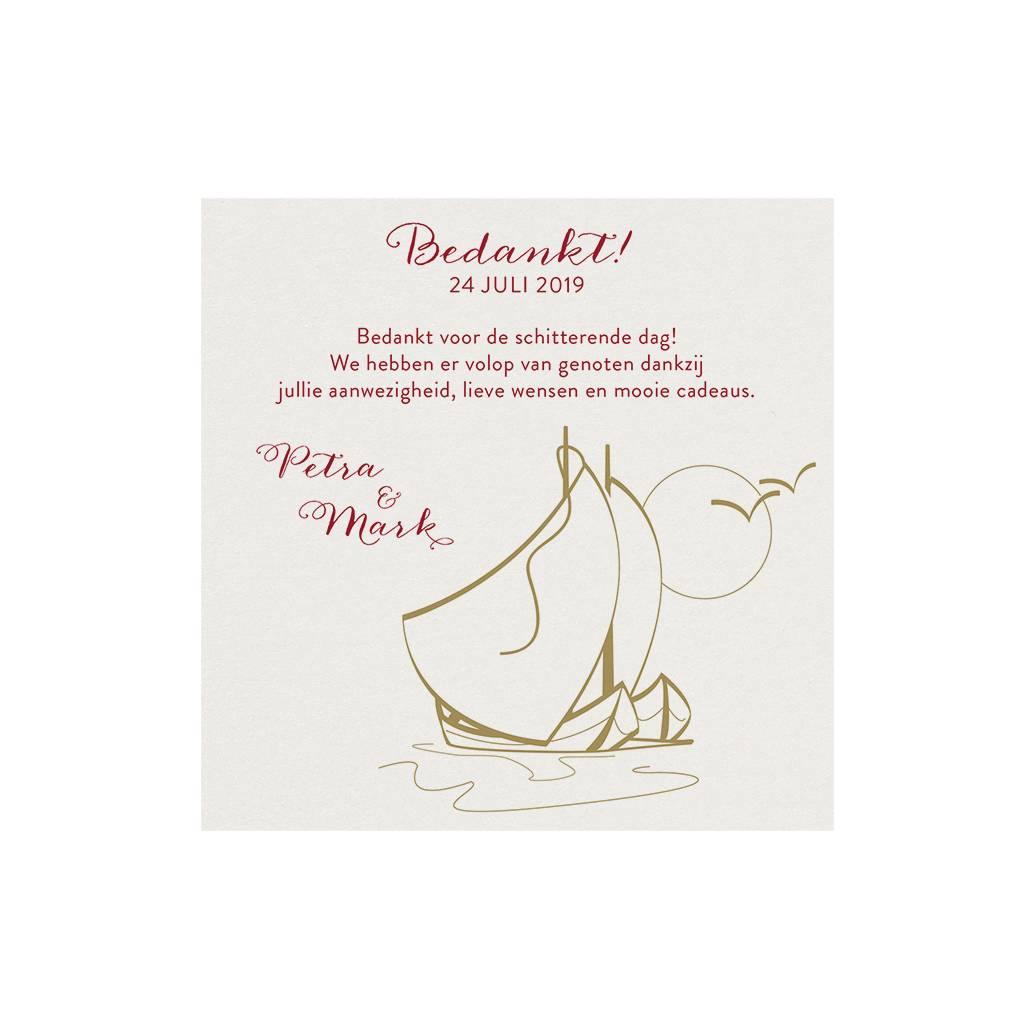 Belarto Jubileum Save The Date of bedankkaart classic met zeilbootjes, maan en vogels (786509)