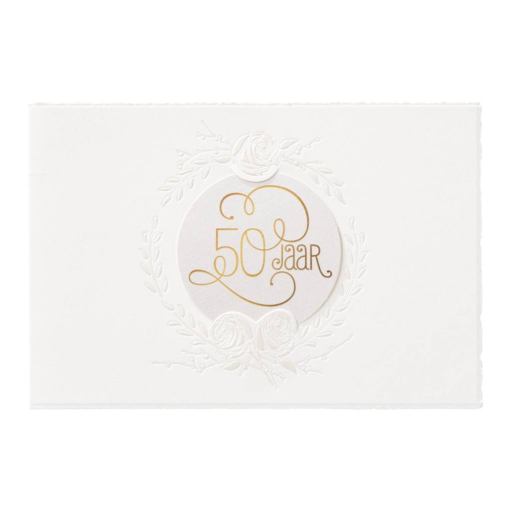 Belarto Jubileum Uitnodiging classic met romantische foliekrans en zegel (786002)