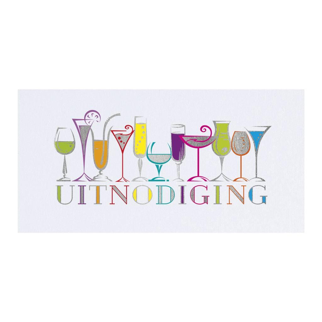 Belarto Jubileum Uitnodiging CELEBRATE met kleurige rij van drankjes (786102)