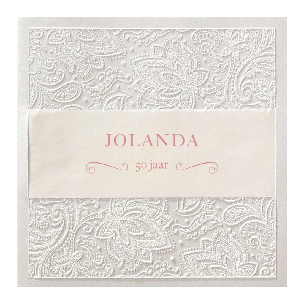 Belarto Jubileum Uitnodiging chic met sierlijk barokpatroon en transparant papier (786040)