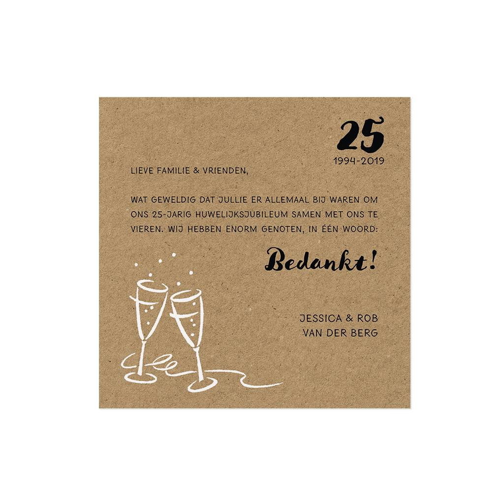 Belarto Jubileum Save The Date of bedankkaart CHEERS kraft (786564)