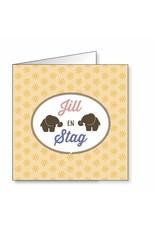 Mare Geboortekaartje voor tweeling met olifantjes in silhouetg (18-014-A)