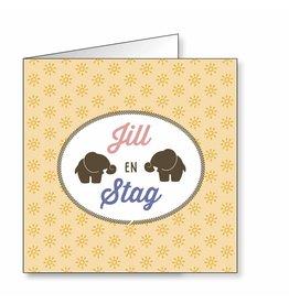 Mare Geboortekaartje voor tweeling met olifantjes in silhouetg