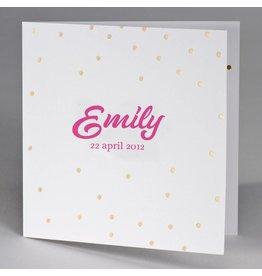 Buromac Baby Folly 2019 Geboortekaart met gouden confetti en roze