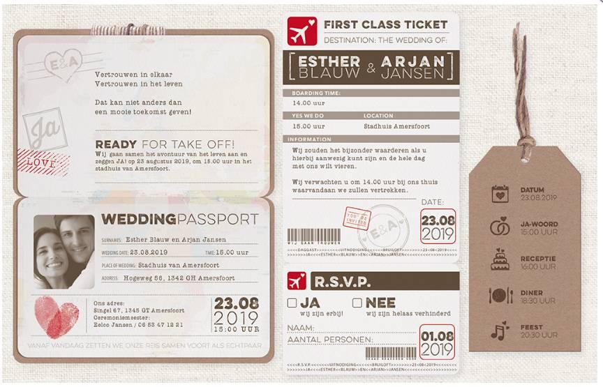 Belarto Bohemian Wedding Trouwkaart als paspoort inclusief boarding pass en bagagelabel (727038)
