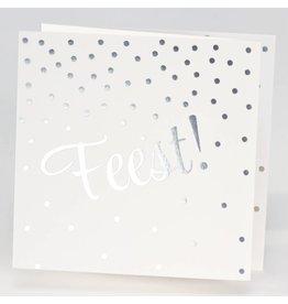 Buromac La Vie en Rose Jubileumkaart Drieluik FEEST met confetti in zilverfolie