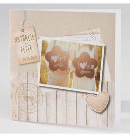 Buromac La Vie en Rose Trouwkaart met eigen foto, jute en steigerhout