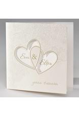 Buromac La Vie en Rose Vierkante trouwkaart met bloemmotief en harten in folie (106134)