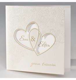 Buromac La Vie en Rose Vierkante trouwkaart met bloemmotief en harten in folie