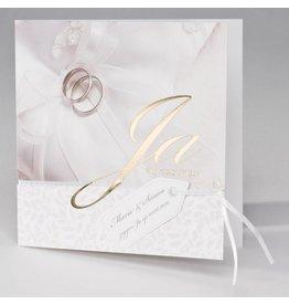 Buromac La Vie en Rose Traditionele trouwkaart ringen, kant en goudfolie